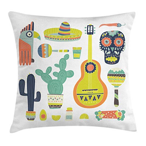 Ambesonne Fiesta Throw Pillow Cushion Cover, Mexico Guitar Face Aztec Mask Tequila Skull Musical Instruments Taco, Decorative Square Accent Pillow Case, 18