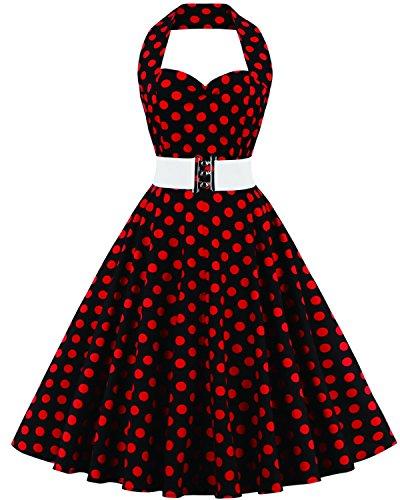 Tempt me Women Vintage 50s Polka Dots Halter Rockabilly Cocktail Swing Dress Navy (Vintage 1960 Halloween Costumes)