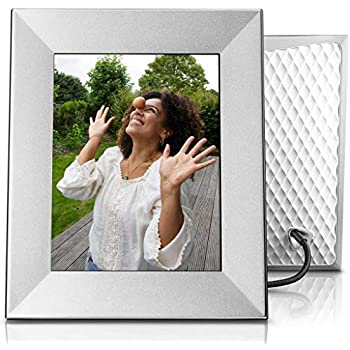 Nixplay Iris 8 Inch WiFi Digital Photo Frame Silver - Share Moments Instantly via App or E-Mail