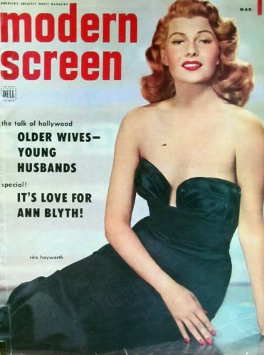 MODERN SCREEN magazine March 1953 Rita Hayworth cover. Inside articles and photos include Mario Lanza, Rita Hayworth, Rock Hudson, Farley Granger, Leslie Caron. All magazines shipped in a protective-archival sleeve.
