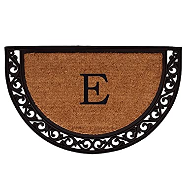Home & More 100101830E Ornate Scroll Doormat, 18  x 30  x 1 , Monogrammed Letter E, Natural/Black