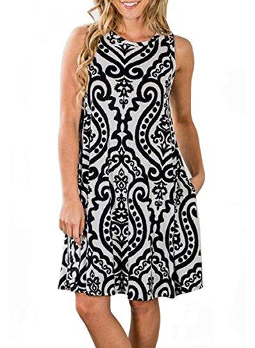 ZESICA Women's Summer Sleeveless Damask Print Pocket Loose T-shirt Dress, Black, Medium