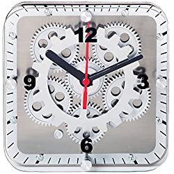 Maple's 6-Inch Square Dual Use Table/Wall Moving Gear Clock Glass Cover