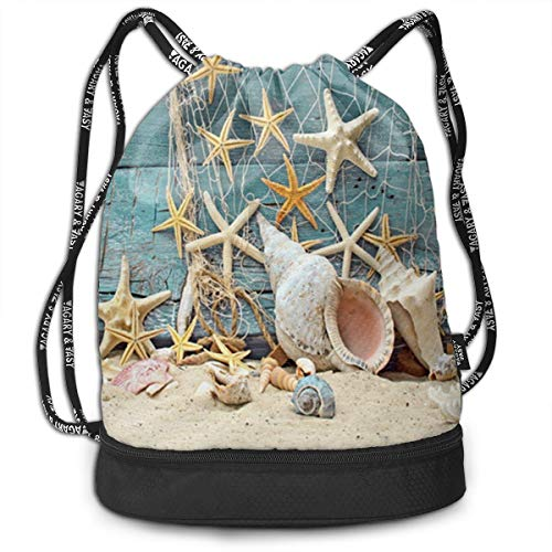 44d057c6bc All agree Drawstring Bag Wooden Planks Fishing Net Starfish Shell Womens Gym  Backpack Fantastic Mens Travel