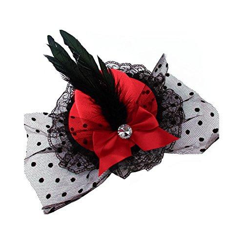 (CHUANGLI Small Hat Hair Clip Headdress Veil Lace Bow Cocktail Headwear)
