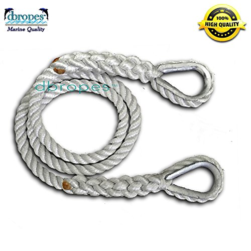 """Price comparison product image dbRopes 5 / 8"""" X 6' Three Strand Mooring Line Pendant 100% Nylon Rope with 2 Thimbles (Tensile Strength 10400 Lbs.) Made in USA"""