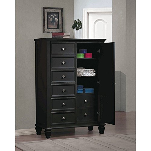 Eight Drawer Armoire (Coaster Home Furnishings  Sandy Beach Modern Transitional Eight Drawer Two Adjustable Shelf Man's Chest Armoire - Black)