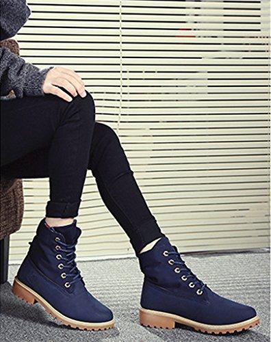 Martin Azul Zapatos Calentar Zapatos Zapatos de Minetom De de Botas Cordones Trabajo Botas Nieve Otoño Invierno Botines Mujer Boots ZwfxBqXOU