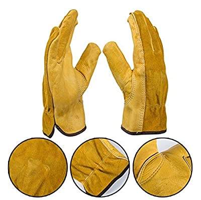 Work Gloves - Cowhide Leather Design - Safety Gloves with Mandolines - Perfect for Cycling Cutting, Cooking, Driving, Welding Labor Protection, Rock Climbing