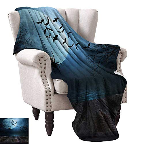 Halloween Decorative Throw Blanket Misty Lake Scene Rusty Wooden Deck Spider Eyeball and Bats with Ominous Skyline All Season Premium Bed Blanket 36