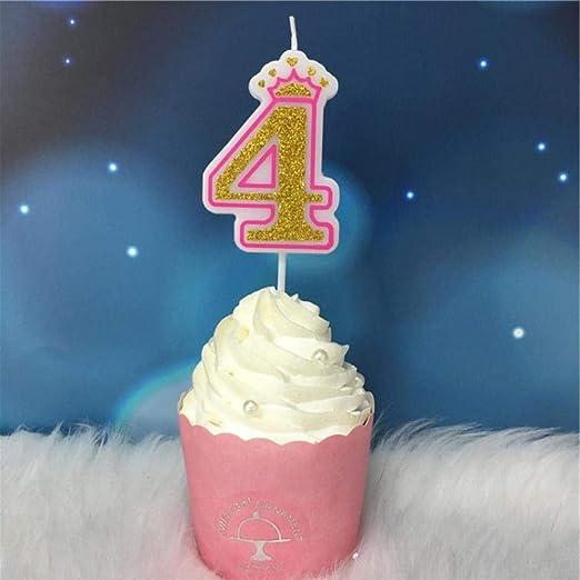 DYTJ-Candles Creative Gold Pink/Blue Crown Número De ...