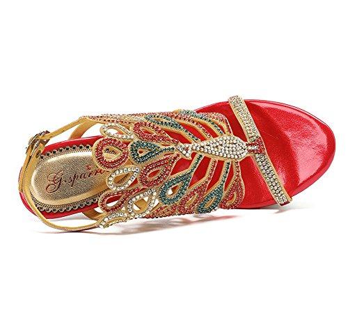 Sandalias Señoras Red Zapatos Tamaño pavo Party imitación Heel Mid Mujeres real Prom Prom Strappy ZPL de Low High Diamante 5qaZxWwU