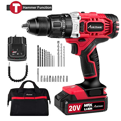 "20V Max Lithium-Ion Cordless Hammer Drill/Driver, 1/2"" Keyless Chuck, Max Torque 405 In-lbs,2-Speed, 1 Hour Fast Charger, 20+1 Position, LED Light, 25pcs Accessories, MW326H"