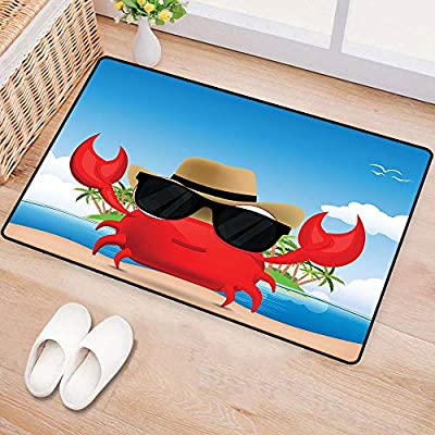 WilliamsDecor CrabsWaterproof Door matCool Crustacean with Black Sunglasses and a Hat Summer Vacation on Tropical IslandMildew proofMulticolor