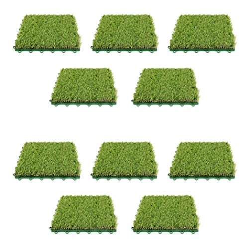 ALEKO 10AG1X1 Realistic Indoor Outdoor Decorative Artificial Grass Turf Deck Tiles 12 x 1 x 12 Inches Green Lot of (Turf Deck)
