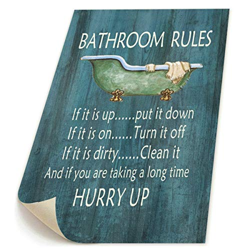 Art-logo 9x13 UNFRAMED Vintage Style Bathroom Rules Bathtub Shower-Canvas Wall Art Decor-Funny Relax Prints,Bathing Bathroom Giclee Artwork Pictures for Home Decoration