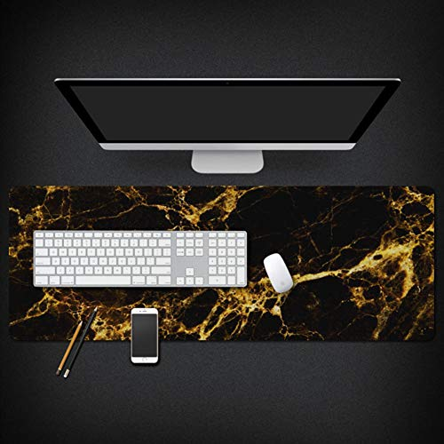 Professional Wood Grain Mouse Pad,Large Gaming Marble Desk Pad Keyboard Pad,Extended Not-Slip Waterproof Mousepad with Stitched Edges for Table Cover -g 40x90x0.3cm(16x35x0.11inch)
