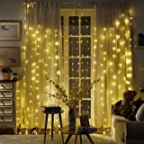 LED Curtain Lights, Greenclick 300 LED 8 Modes 9.8ft x 8.2ft Waterproof Plug in Window Decorative Fairy Icicle Twinkle Starry String Lights for Christmas Wedding Party Garden Outdoor (Warm White)