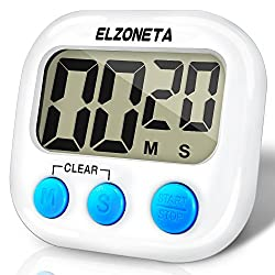 Elzoneta Digital Kitchen Timer, Cooking Timers Countdown Clock - Simple Operate, Large Display Screen, Loud Alarm Ring, Magnetic Back - White (Battery not included)
