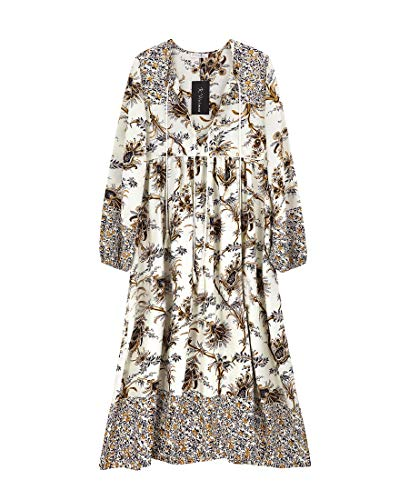 R.Vivimos Women's Long Sleeve Floral Print Retro V Neck Tassel Bohemian Midi Dresses (Large, - Dress Floral Cotton Print