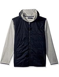 Men's Long Sleeve Mix Media Fleece Zip Front Hoodie