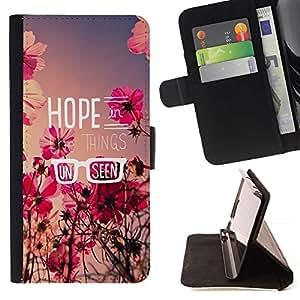 Momo Phone Case / Flip Funda de Cuero Case Cover - Esperanza floral de verano campo de mensaje Flores - HTC One M9