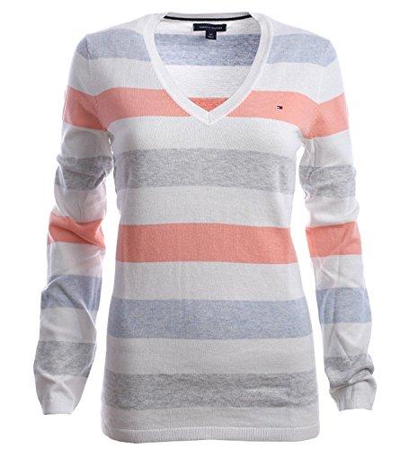 White Peach Shirt Blue Blanc Sweat Femme Hilfiger Tommy ZwR60Xqzn