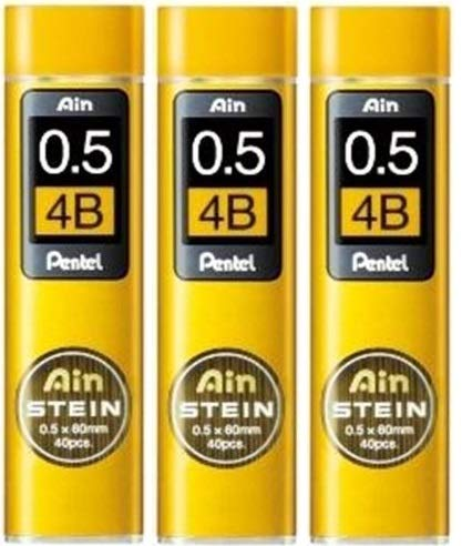 [3 set!!!] Pentel Mechanical pencil core replacement Ain Stein 0.5mm 4B 40leads×3 C275-4B from Japan