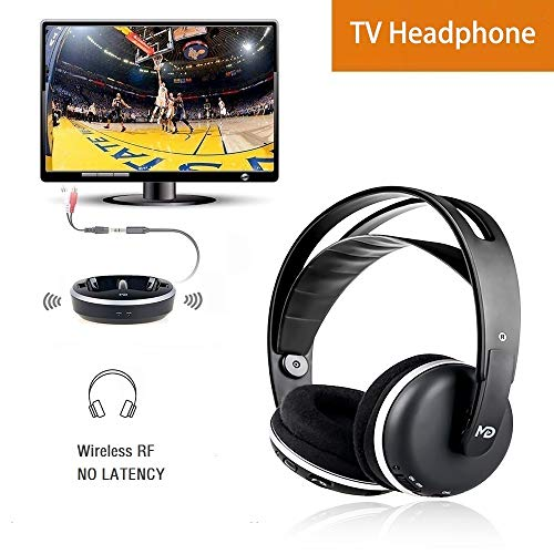 (Wireless Universal TV Headphones, Monodeal Over-Ear Stereo RF Headphones with Charging Dock, Low Latency Volume Adjustable for Gaming TV PC Mobile, 25hr Battery Sound -1 Year Warranty)