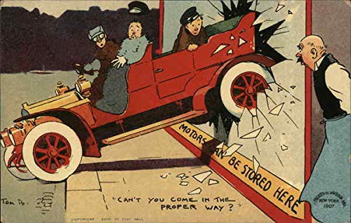 Car with Passengers Backed Into Storefront Display Glass Comic Funny Original Vintage Postcard