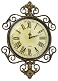 LuLu Decor, Antique Roman Metal Wall Clock in Fleur De Lis Design, Perfect for Housewarming Gift. (Vintage) For Sale