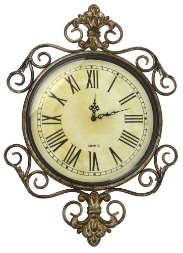 LuLu Decor, Antique Roman Metal Wall Clock in Fleur De Lis Design, Perfect for Housewarming Gift. (Vintage)