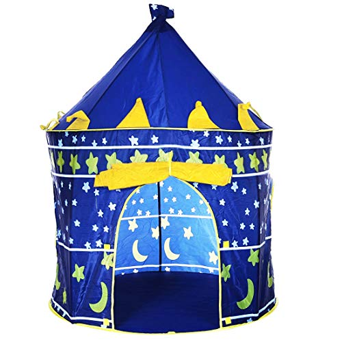 izasky Kids Portable Play Tent - Kid Tent Toy Prince Playhouse Castle Indoor & Outdoor for Children Boy Girl Baby Toys Foldable with Carry Case Great Birthday Gift Idea (Yellow) -