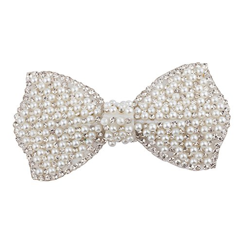 Lux Accessories Silver Tone White Pearls Crystal Rhinestones Ribbon Bow ()