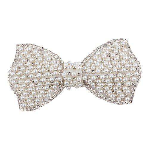 Lux Accessories Silver Tone White Pearls Crystal Rhinestones Ribbon Bow - Rhinestone White Crystal