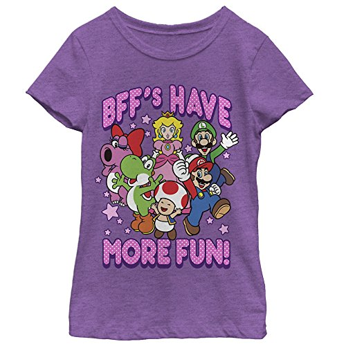 Nintendo Little Girls More Fun Graphic T-shirt, Purple Berry, M]()