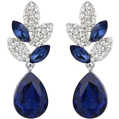 - EVER FAITH Rhinestone Crystal Wedding Leaf Teardrop Pierced Dangle Earrings Sapphire Color Silver-Tone