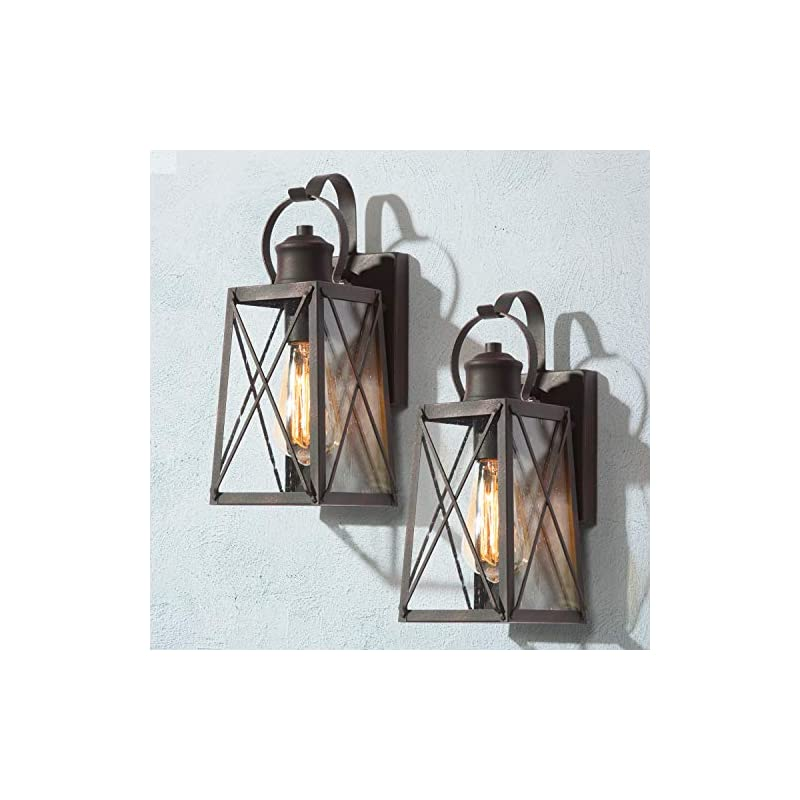 LOG BARN Porch Lights Outdoor Wall Lanterns 2 Pack, Farmhouse Wall Sconces Exterior Wall Mount Lights in Rustic Bronze…