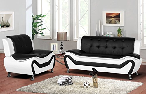 Container Furniture Direct S5411-S+C Arul Leather Air Upholstered Mid Century Modern Set with 77.5