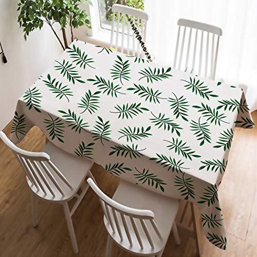 - SXCHEN Personalized Custom Waterproof Linen Washable Polyester Tablecloths Fresh Simple Green Branches Leaves 40 x 55 Inch