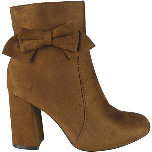 Ladies Faux Suede Zip High Heel Bow Ankle Boots Size 3-8 Camel JqQ7A