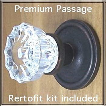 Fluted Crystal Glass Oil Rubbed Bronze Passage Door Knob