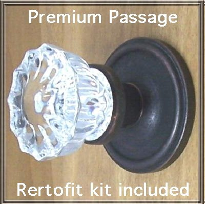 Fluted Crystal Glassoil Rubbed Bronze Passage Door Knob Sets for