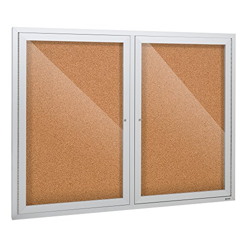 Enclosed Bulletin Board Case (Outdoor/Indoor Enclosed Cork, Bulletin Board with Two Doors, 4' W x 3' H)