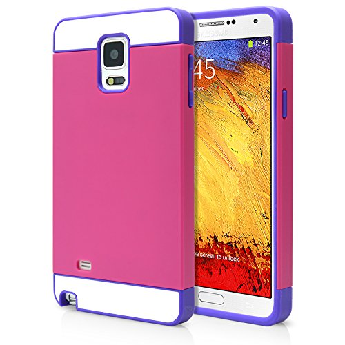 Galaxy Note 4 Case, MagicMobile Cute Ultra Slim Protective Case for Note 4 [Heavy Duty] Hard Thin Shockproof Resistant Flexible TPU for Samsung Galaxy Note 4 Cute Armor Cover, Hot Pink - Purple