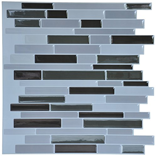Art3d 10-Piece 3D Decorative Peel and Stick Tiles for Kitchen Backsplash, 12