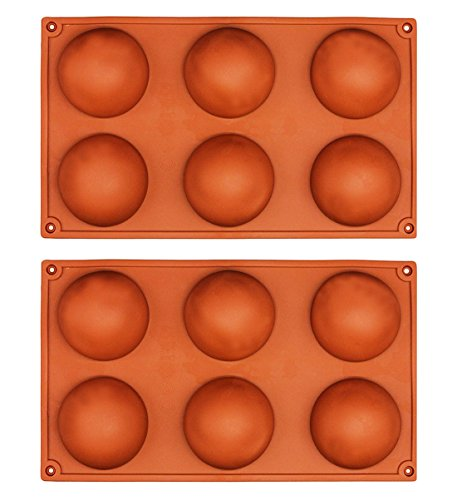 6 Cavities 2Pcs Large Half Sphere Hemisphere Dome Semisphere Chocolate Silicone Mold Tray