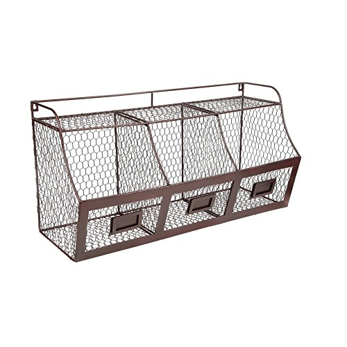 J Miles UH-SB232 Tri-Compartment Hanging Wire Fruit Organizer - Wall Mount or Tabletop Wire Fruit Bin with Chalkboard Labels - Bin Tabletop