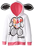 FREEZE Little Girls' Snoopy Toddler Girl Fleece Hoodie with Ears, White, 2T