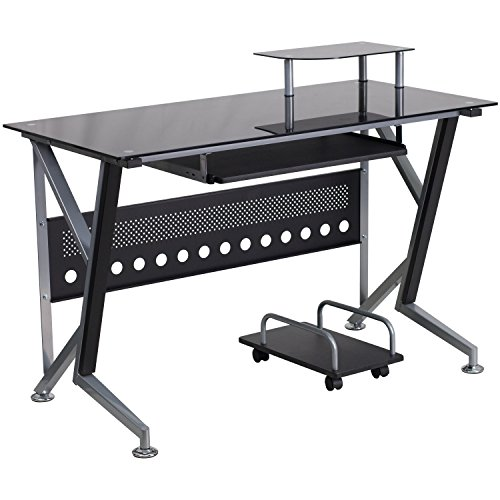 Flash Furniture Black Glass Computer Desk with Pull-Out Keyboard Tray and CPU ()